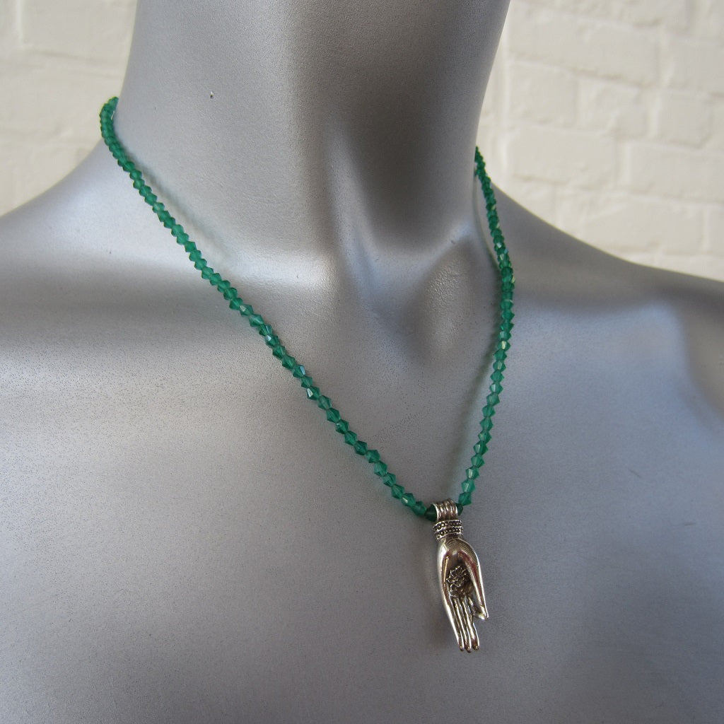 Green Onyx and Silver Hand Necklace