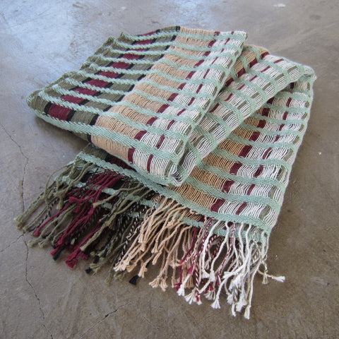 Handmade Open-Weave Scarf: Forest