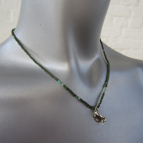 Jade and Silver Hand Necklace