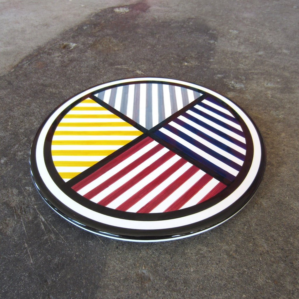 Sol LeWitt Serving Platter: White Lines in 4 Directions