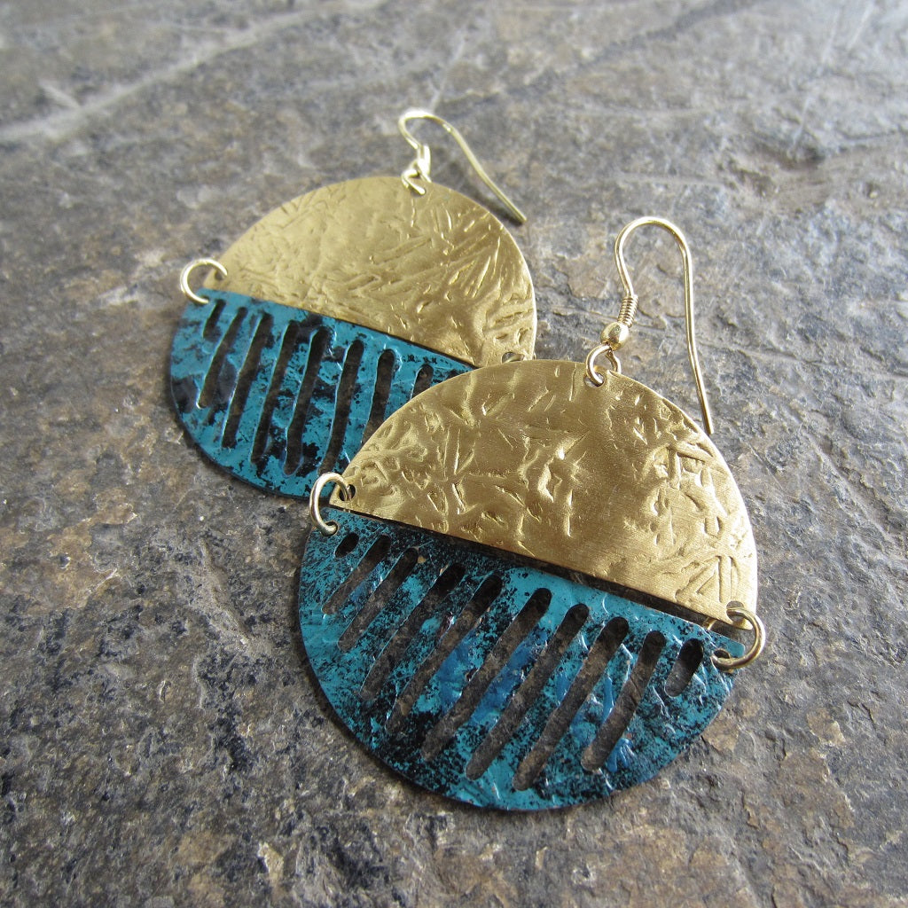 Gold and Teal Medallion Earrings