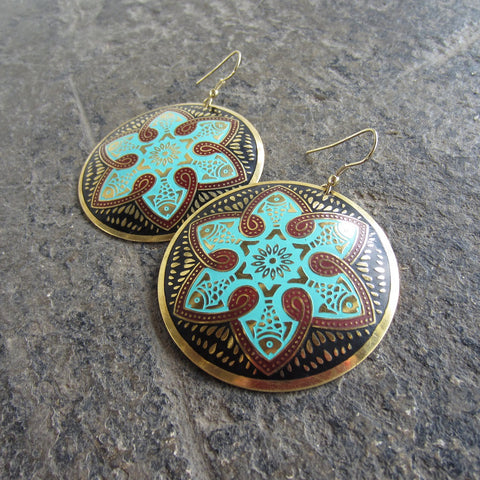 Teal Tzolk'in Earrings