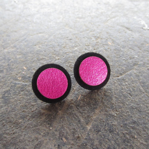 Pink Dot Leather Earrings