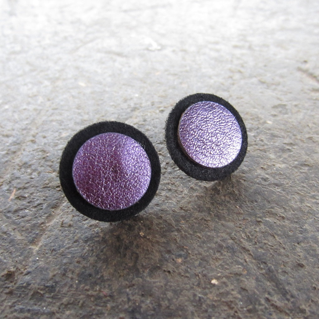 Purple Dot Leather Earrings