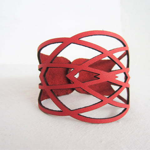 Red Leather Geometric Cutout Bracelet