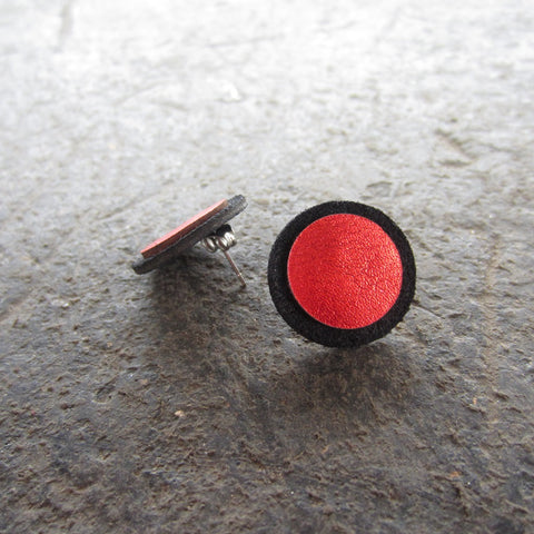 Red Dot Leather Earrings
