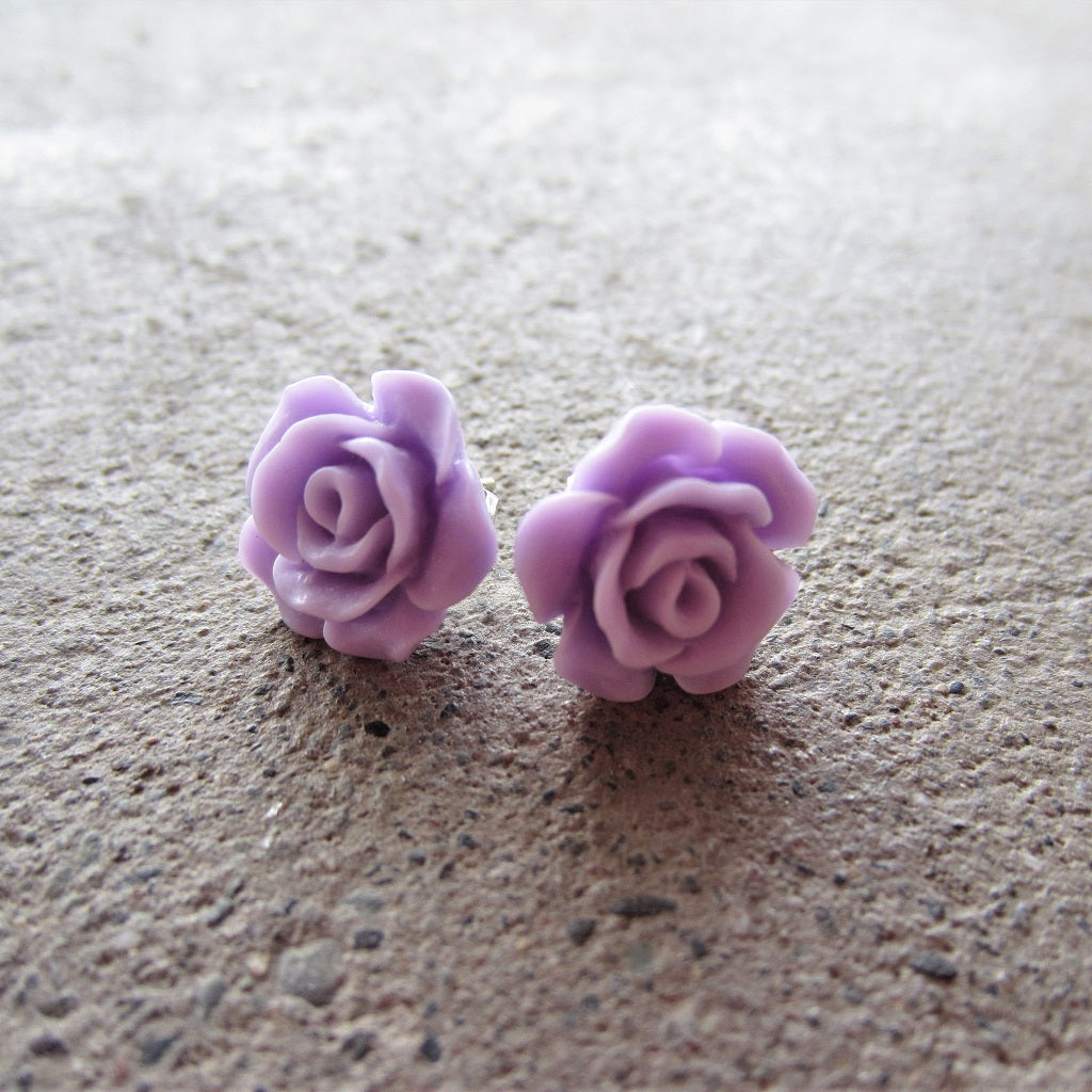 Rose Stud Earrings: Pale Purple