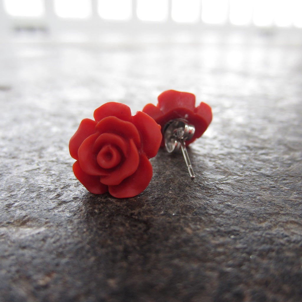 Rose Stud Earrings: Red