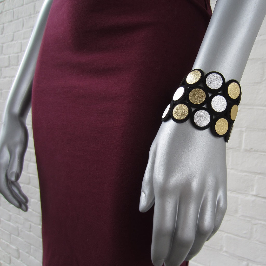Metallic Dot Leather Bracelet