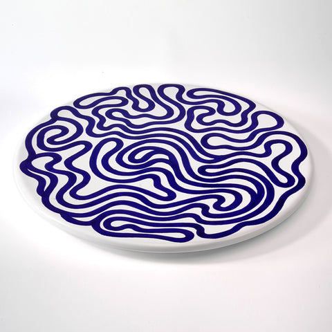 Sol LeWitt Serving Platter: Blue Curvee