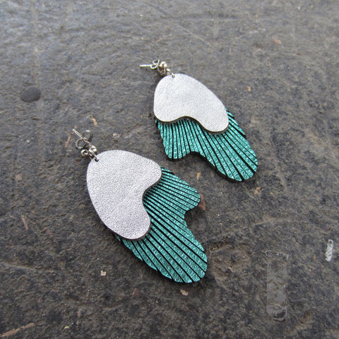 Aqua Double Wave Leather Earrings