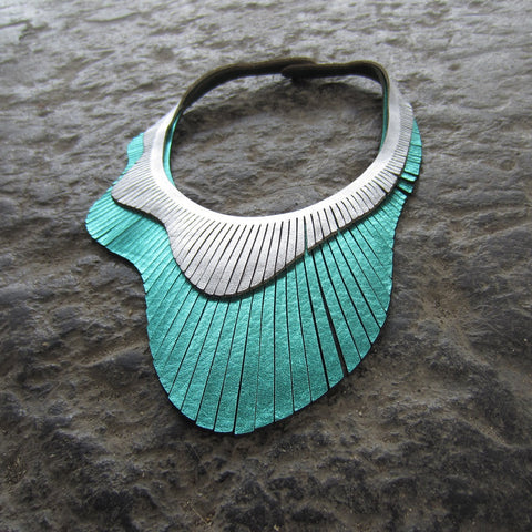 Aqua Double Wave Leather Necklace