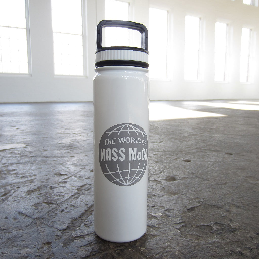 World of MASS MoCA Etched Stainless Steel Water Bottle: White