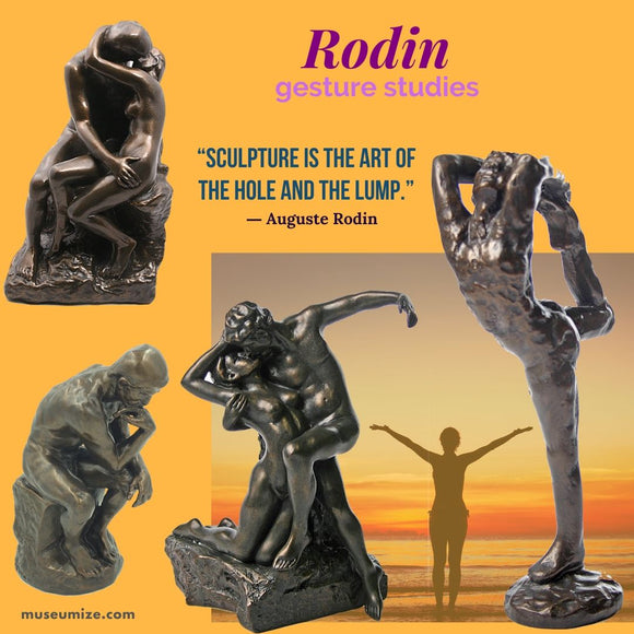 rodin the thinker, rodin the kiss, gesture sculptures, camille claudel the waltz