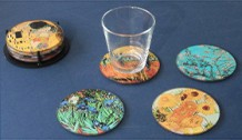art masterpiece glass drink coasters, set of 4