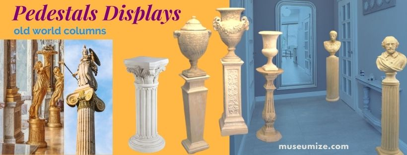 statue pedestals displays old world columns classical risers