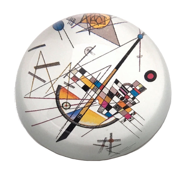 Kandinsky Modern Art Glass Dome Desktop Paperweight 3W