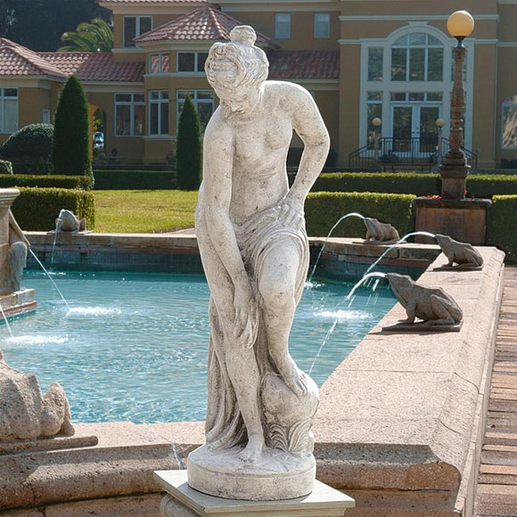 Female The Bather Neoclassical Garden Statue by Allegrain 34H