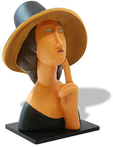 Jeanne Hebuterne Lady in Straw Hat Statue (1918) by Modigliani 4H