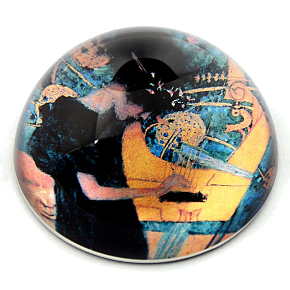 Klimt Art Nouveau Woman Playing Music on Harp Glass Paperweight 3W