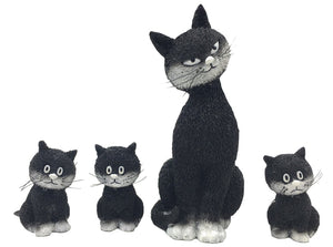Momma Cat with Three Kittens Small Figurine Statue Set L'Alignement by Dubout 4H
