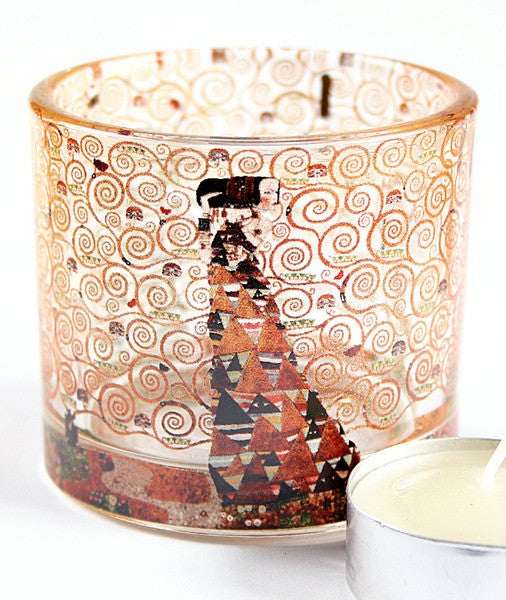 Klimt Expectation Glass Tealight Candleholder 2.3H