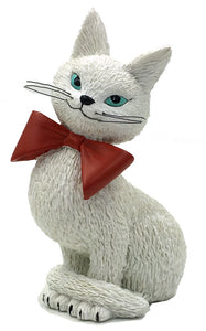 Cat White Coquette So Cute Coy Look Wearing Red Bow Figurine by Dubout