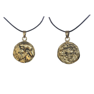 Dionysus Bacchus Greek God of Wine and Fertility Olympians Bronze Pendant Charm Unisex Necklace 1H