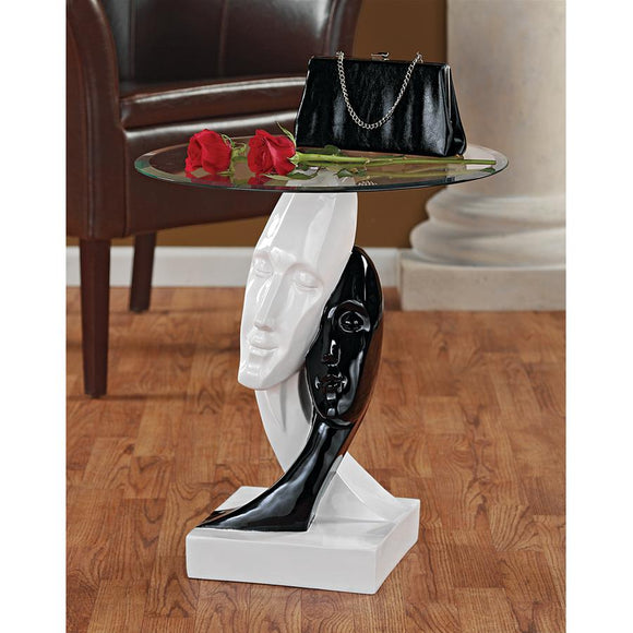 Abstract Lovers Portrait in Black and White Contemporary Side Table with Glass 20H