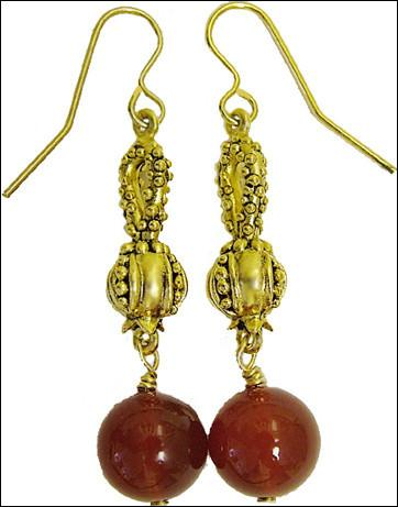 Greek Pomegranate Dangle Drop Earrings with Carnelian 1.25L