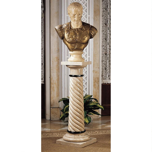 Bottochino Spiraled Solid Marble Column Creme Black Carved Stand 39H Freight