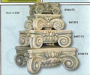 Riser Classical Scroll Column Capital for Table or Statue Base, Assorted Sizes