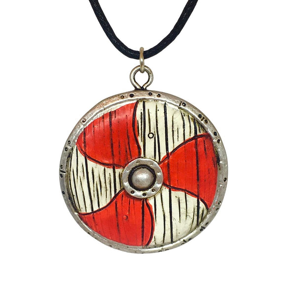 Viking Shield Red White Round Historical Costume Pendant Necklace