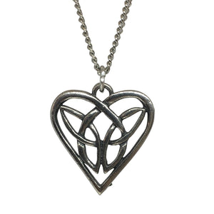 Celtic Loving Heart Pewter Pendant Necklace Unisex 18L
