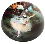 Degas Ballerina Dancer White Green Glass Dome Desk Museum Paperweight 3W