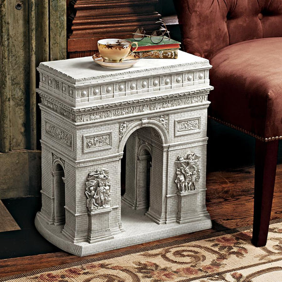 Arc de Triomphe Paris Monument Sculpture Side Table 20H