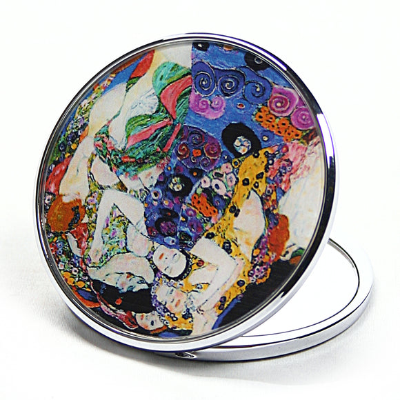 Virgin Die Jungfrau Purse Handbag Cosmetic Magnification Mirror by Klimt 2.75W - Blue/White/Green