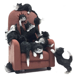 Kittens on a Highback Chair Save Me a Seat by Dubout Figurine 7.5H
