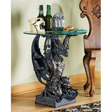 Hastings Warrior Dragon with Armor Medieval Glass Topped Sculptural Side Table 24H
