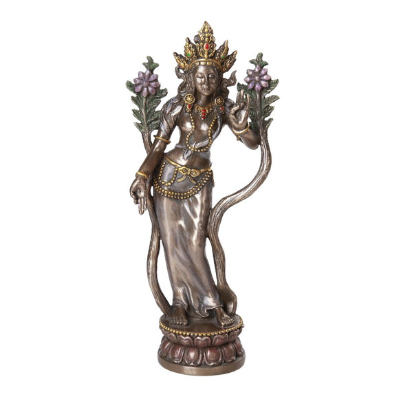 Tara Standing Hindu Goddess Crown Flowers Lotus Pedestal 8.25H