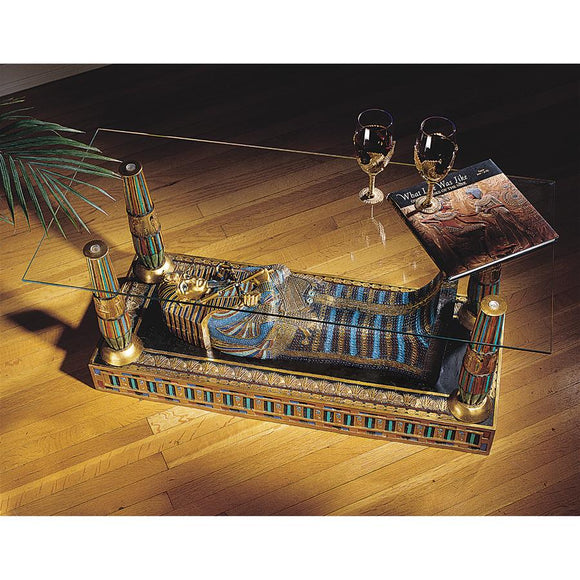 King Tutankhamen in Repose Royal Sarcophagus Coffee Table 18.5H