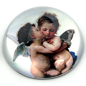Cherubs Angels Kissing from Bouguereau Glass Dome Paperweight 3W