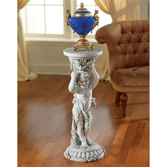 Cherub Under the Grape Vine Rococo Sous La Vigne Display Pedestal Stone Finish 36H
