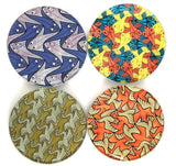 Escher Symmetry Geometric Birds Fish Stingray Bar Drink Glass Coasters Set of 4