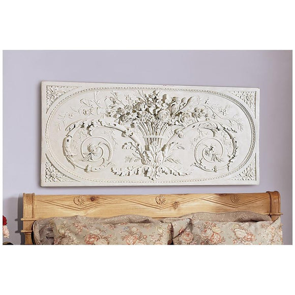 Le Bouquet of Flowers Grand Rococo Sculptural Wall Frieze Hanging 47.5W
