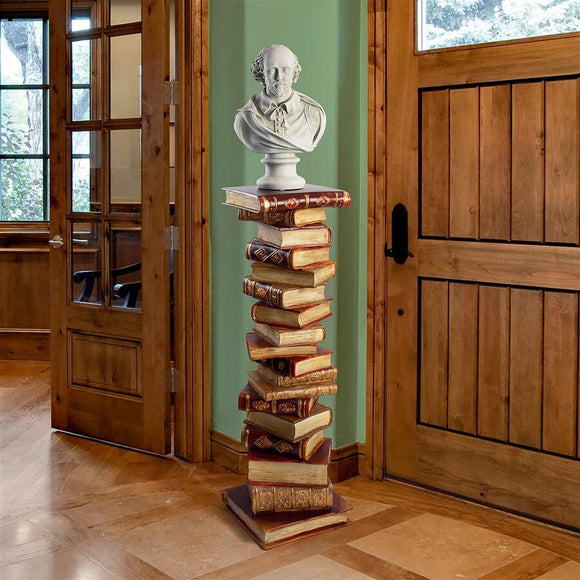 Power of Books Sculptural Pedestal Display Column 39H