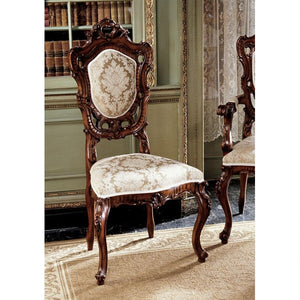 French Rococo Side Chair Handcarved Wood Ivory Gold Jacquard Upholstery 47H