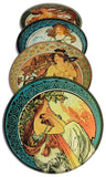Mucha Paintings Glass Drink Bar Coasters Set of 4 with Storage Stand