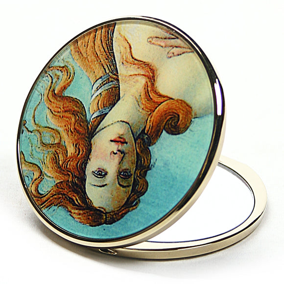 Birth of Venus Purse Handbag Cosmetic Magnification Mirror by Botticelli 2.75H - Cream/Green