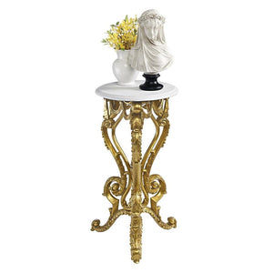 Pedestal Table Display Stand Palace Of Versailles Petite Golden Rococo Ornate 28.5H